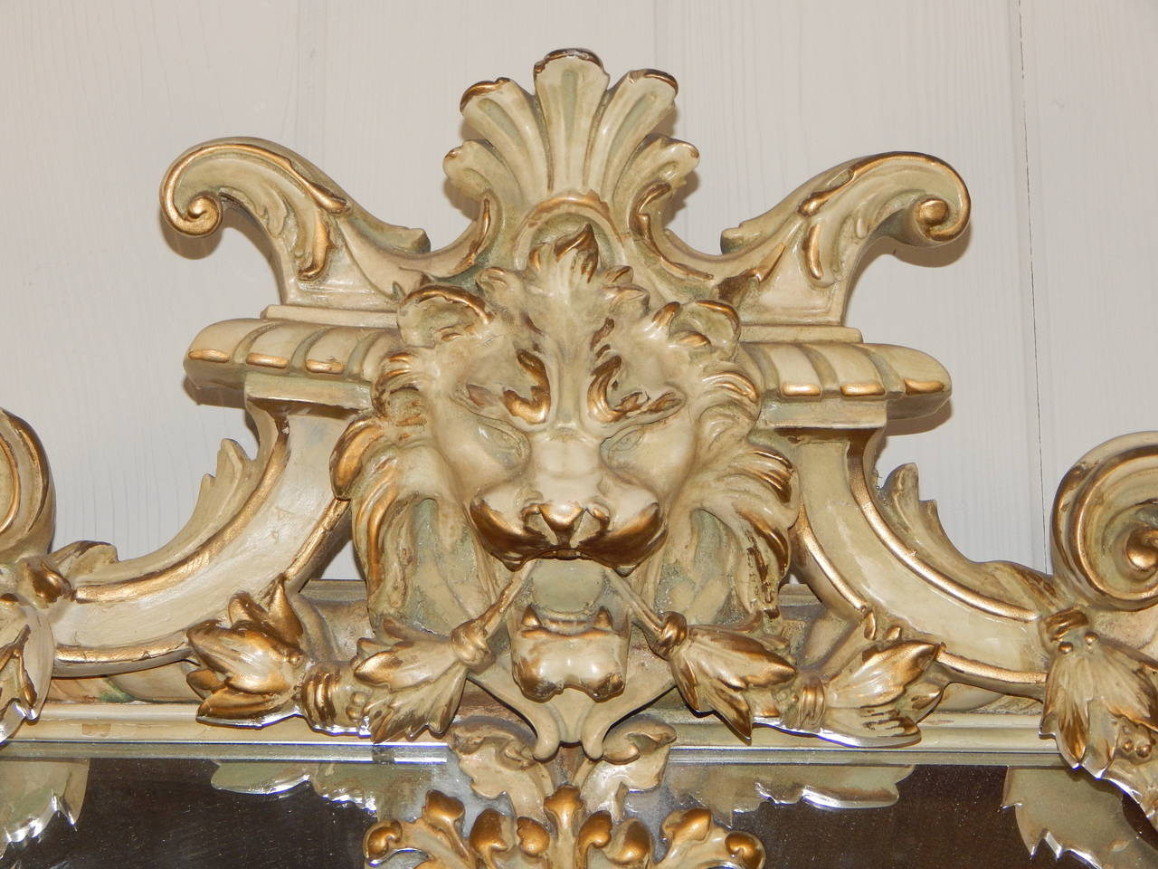Carved Mirror With Lion S Head And Cut Glass Stars At 1stdibs