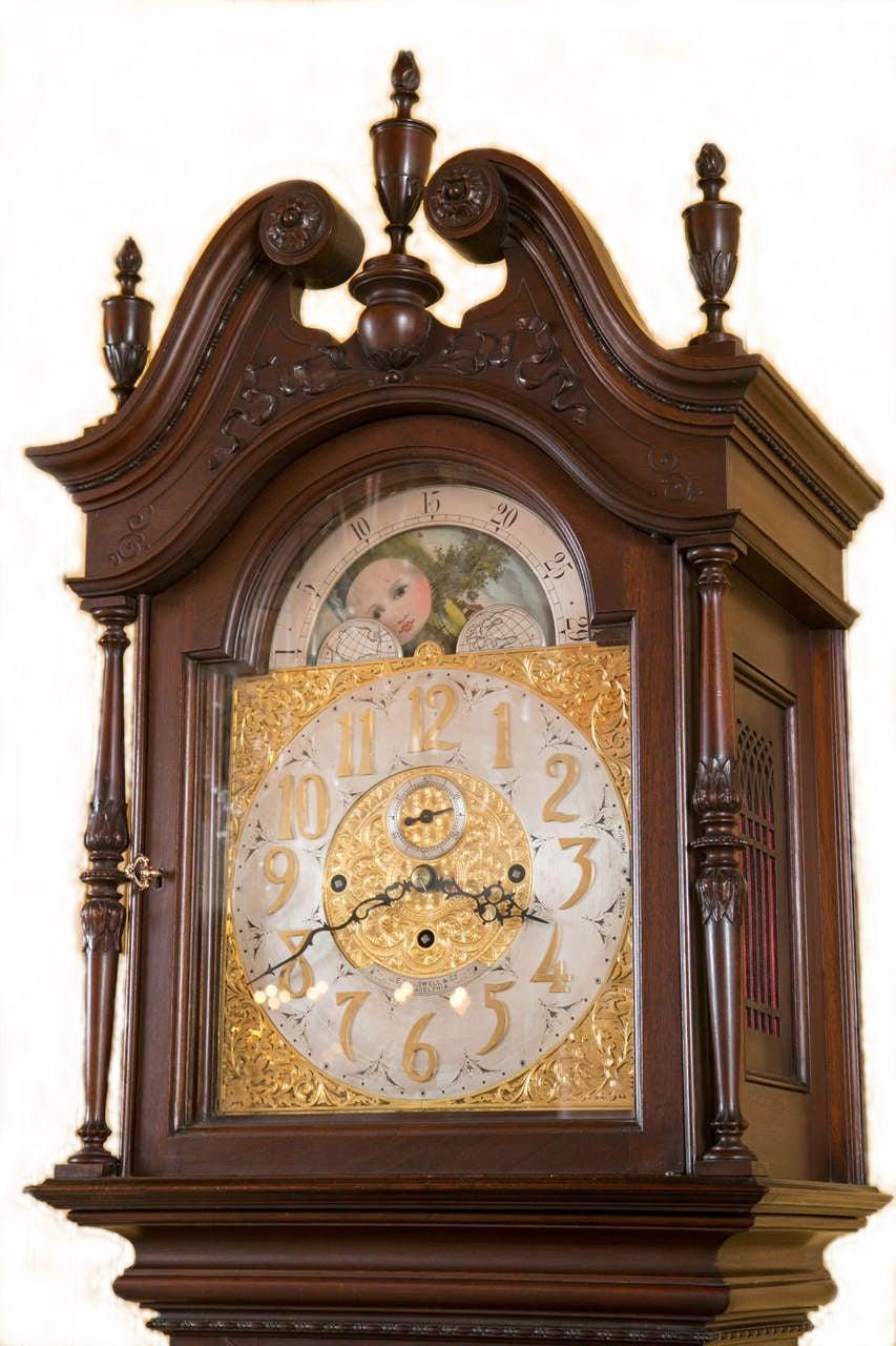 Carved Mahogany Westminster Chime Grandfather Clock J E