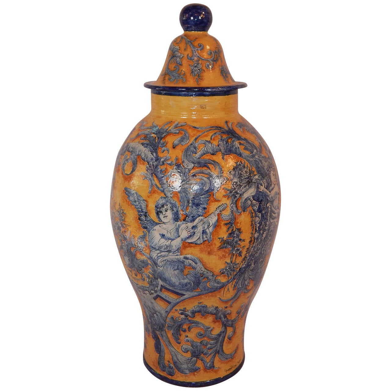 paint decorated faience covered floor vase signed for sale at 1stdibs. Black Bedroom Furniture Sets. Home Design Ideas