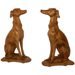 Large Pair of Carved English Pine Whippets