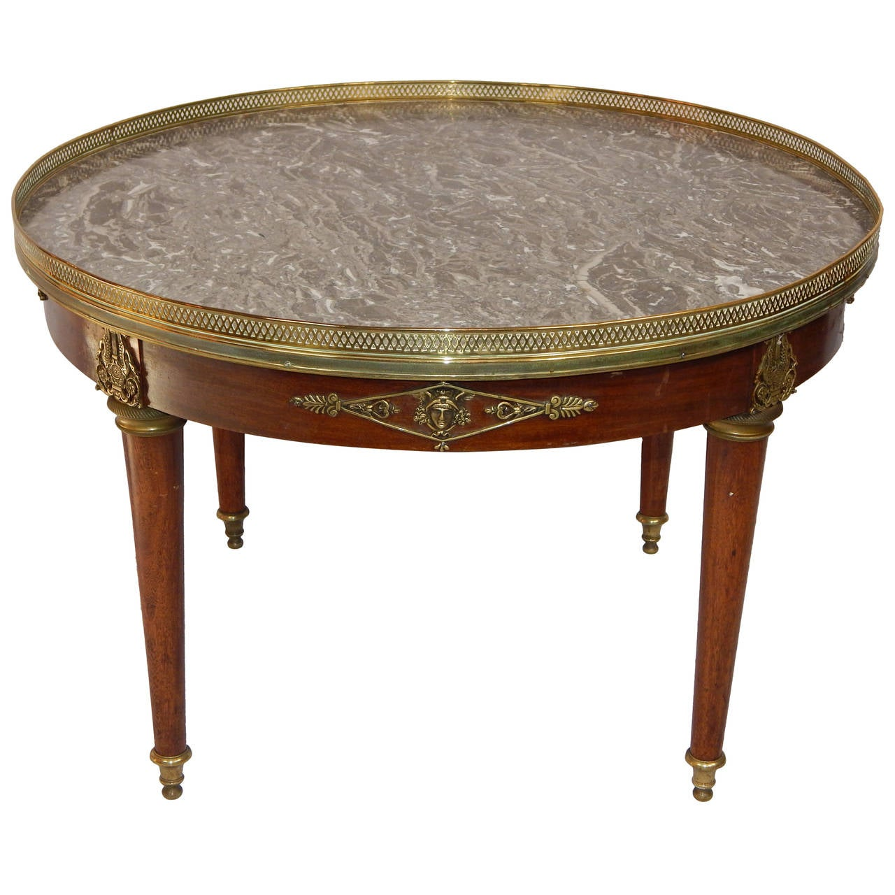 Empire style bronze mounted mahogany with marble top for Marble top coffee table