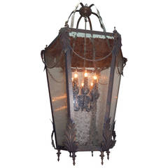 Tole Lantern with Glass Panels