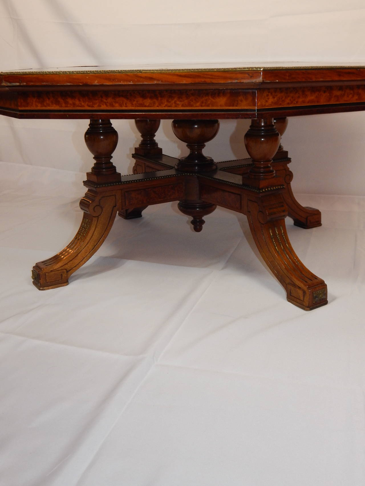 English Burl Walnut And Calamander Inlaid Coffee Table At 1stdibs
