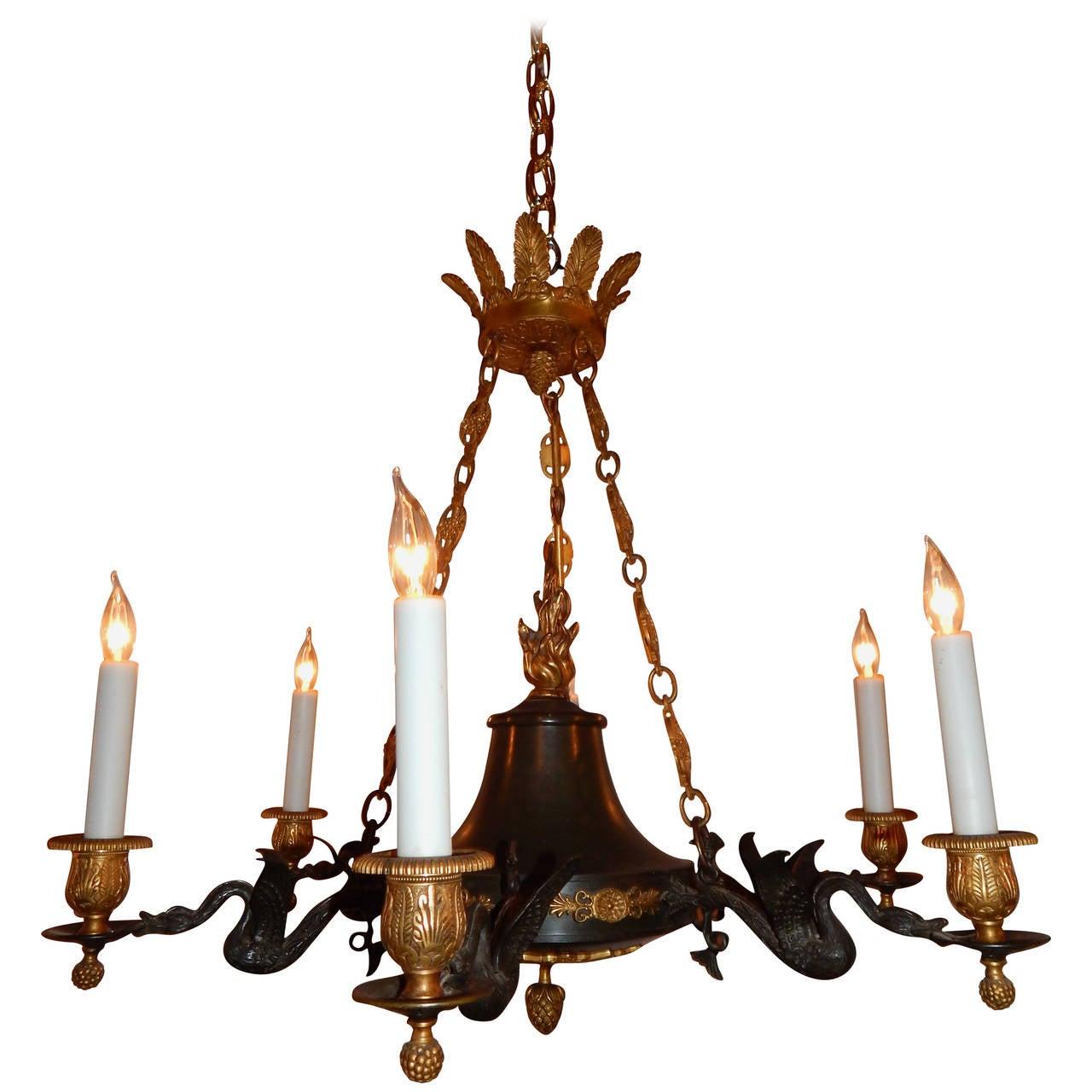 Two-Tone Bronze Empire Style Six-Light Chandelier