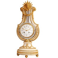 Bronze and Marble Lyre Form Clock Signed Tiffany & Co.