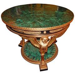 Russian Empire Style Bronze Mounted Malachite Centre Table