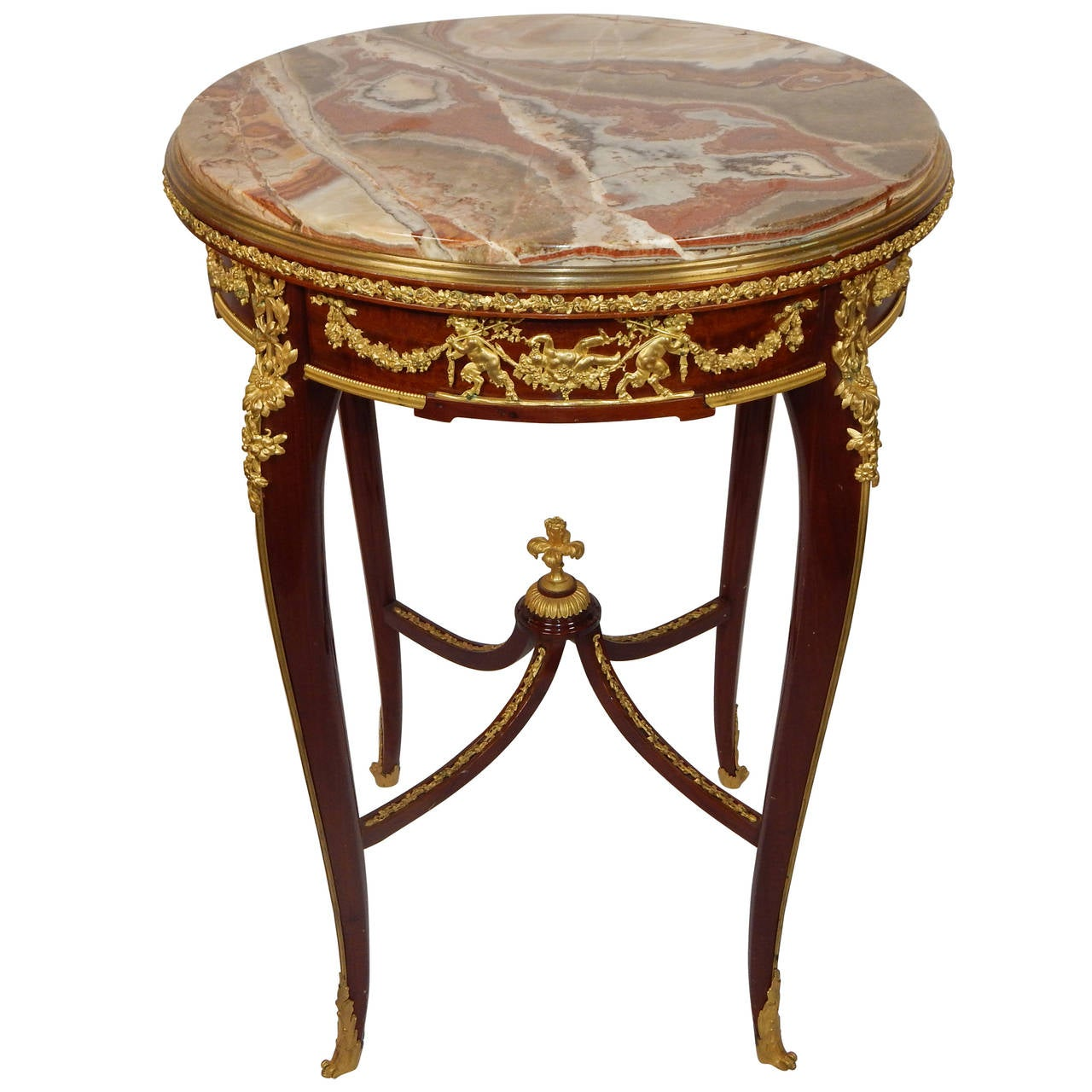 Marble top side table - Louis Xv Style Bronze Mounted Marble Top Side Table By Fran Ois Linke 1
