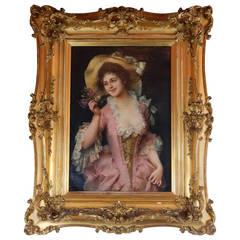 Oil on Canvas of a Pretty Woman by Adriano Cecchi
