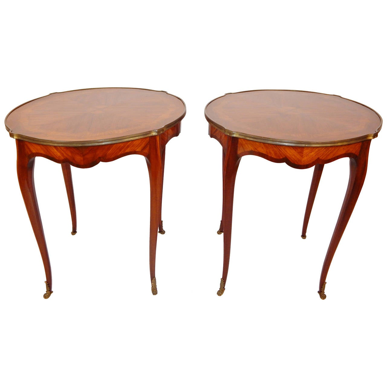 Pair of Louis XV Style Inlaid Bouillotte Tables