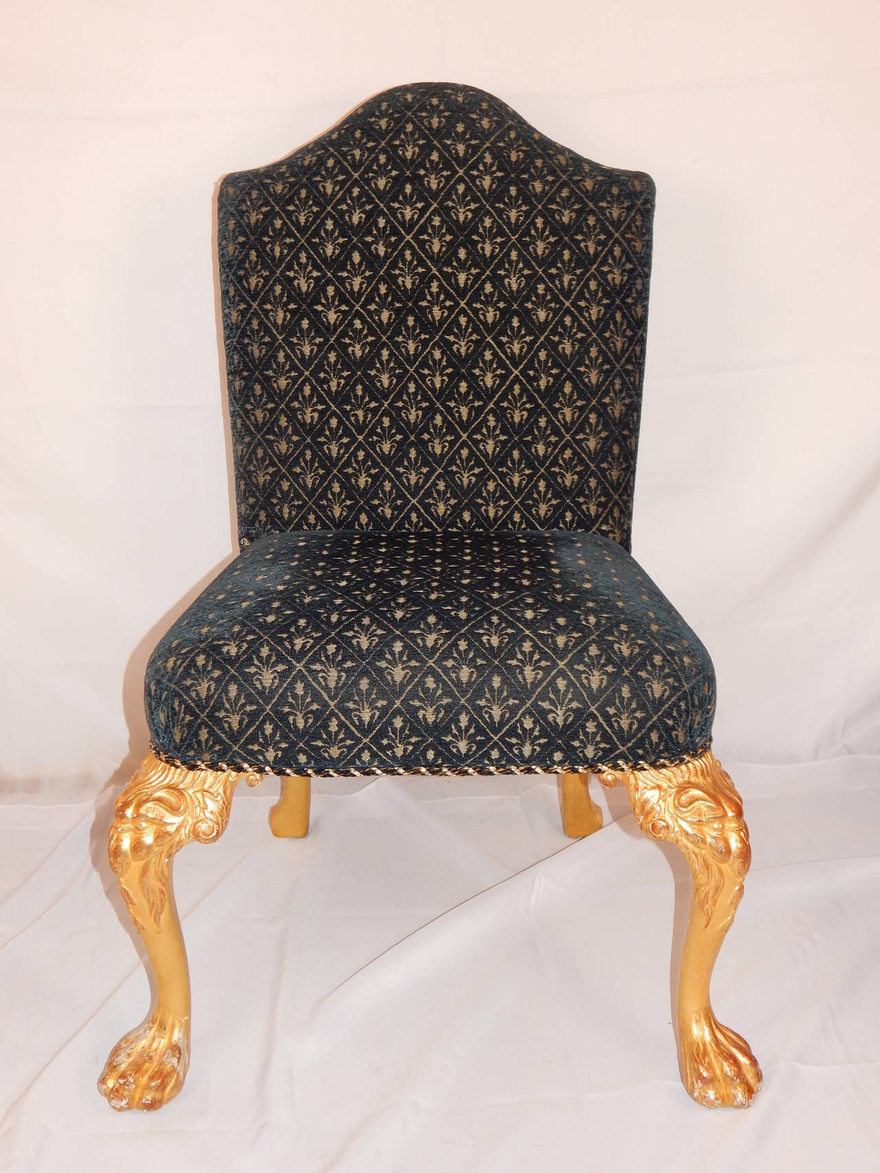 English  Set of Eight George I Style Giltwood Dining Chairs For Sale