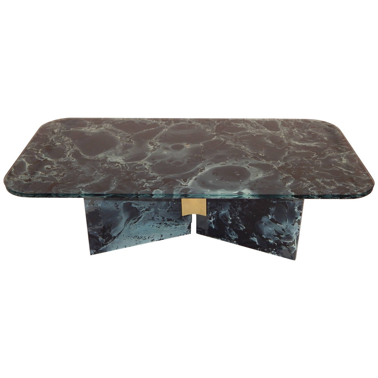 Marbleized glass coffee or cocktail table for sale at 1stdibs for Glass coffee tables for sale