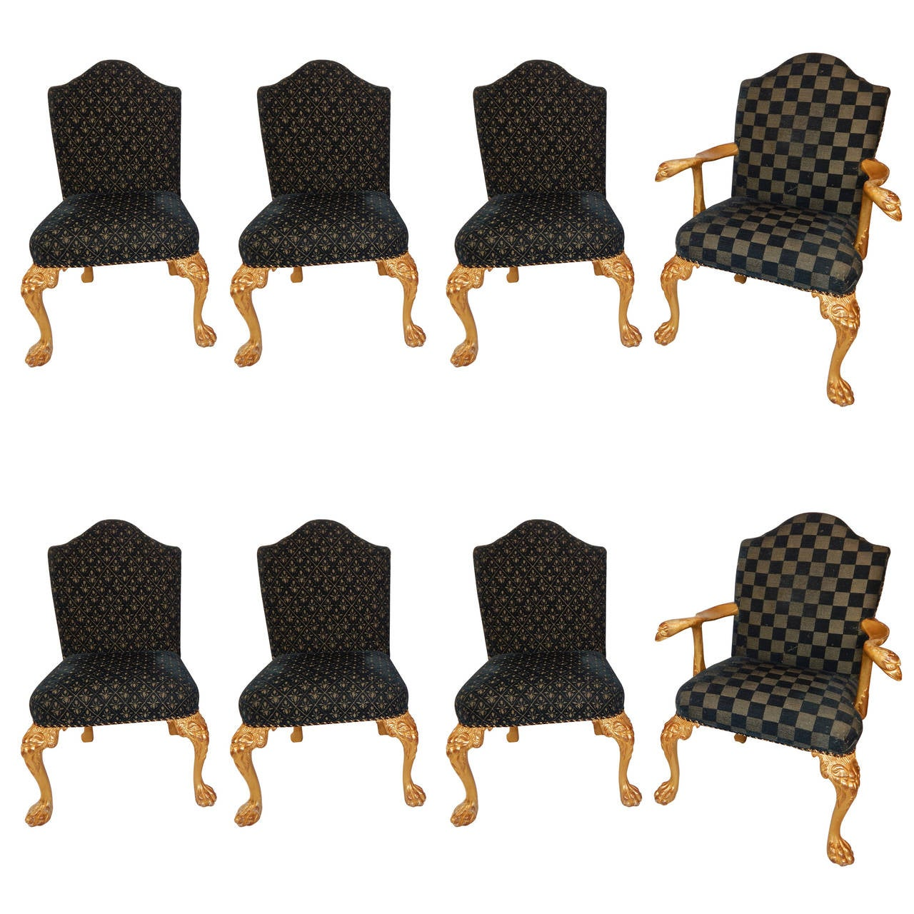 Set of Eight George I Style Giltwood Dining Chairs