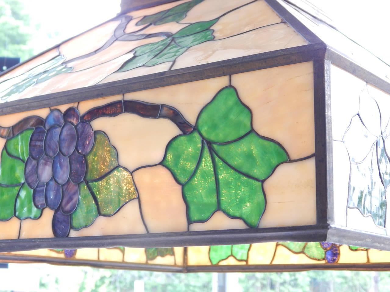 Arts & Crafts Style Leaded Glass Lantern Chandelier 3