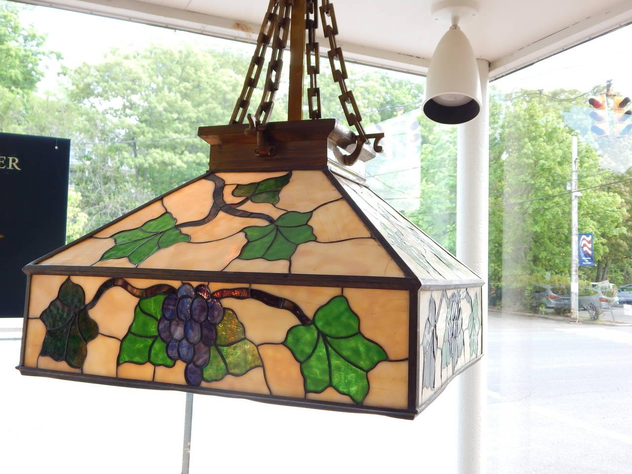 Arts & Crafts Style Leaded Glass Lantern Chandelier 2