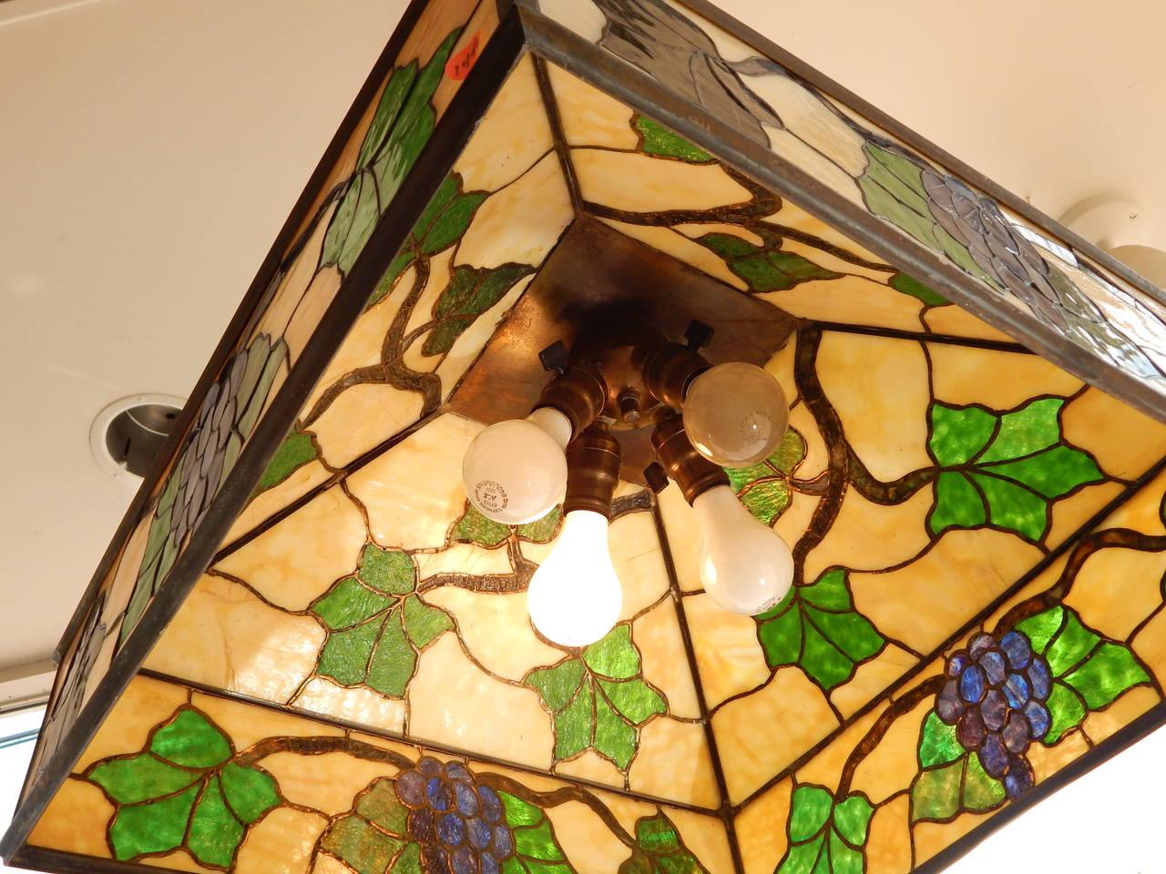 Arts & Crafts Style Leaded Glass Lantern Chandelier 4
