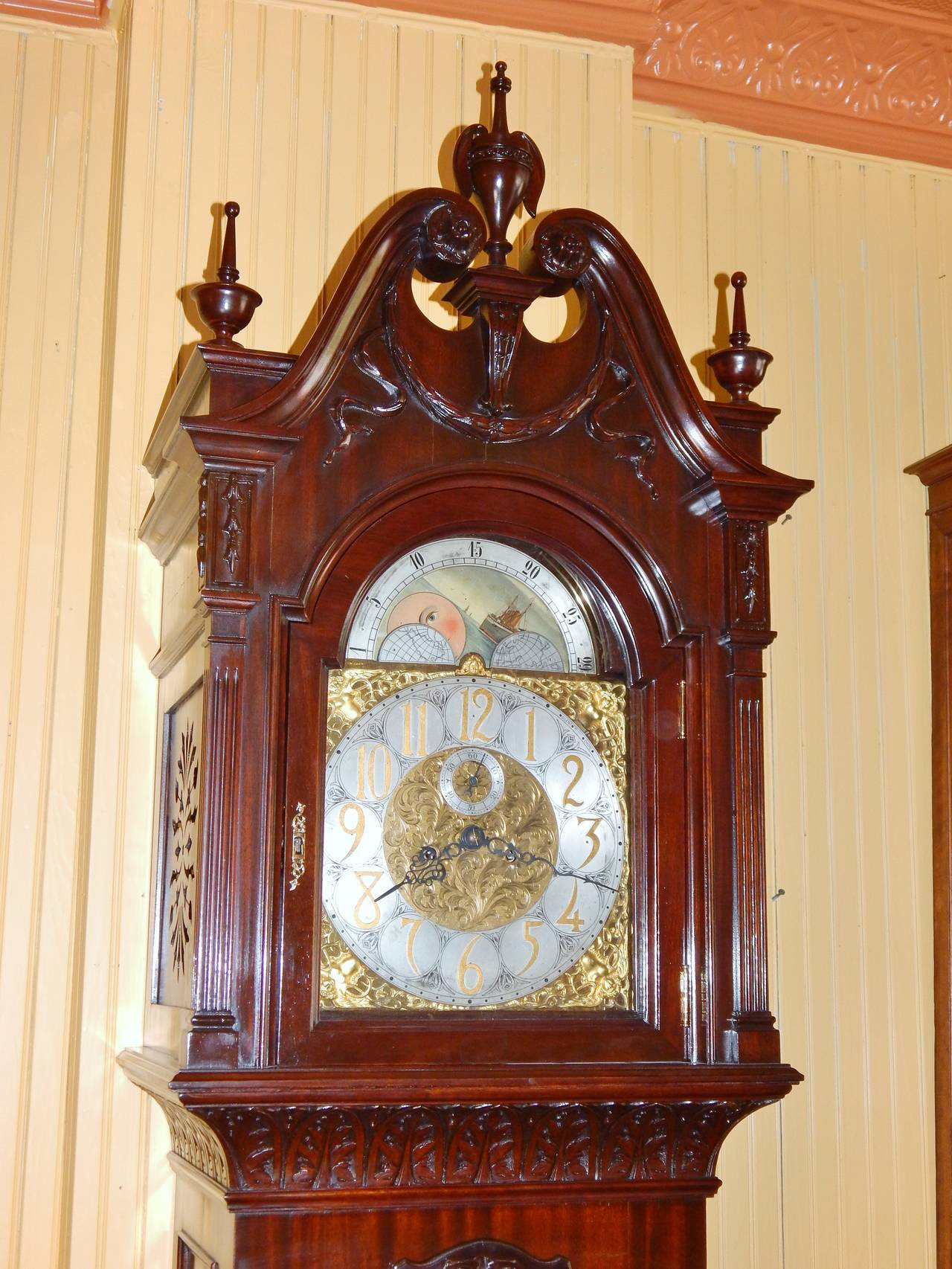 A Beautifully Carved Mahogany Large Size Grandfather Clock, Works Signed R.  Korfhage, Patent