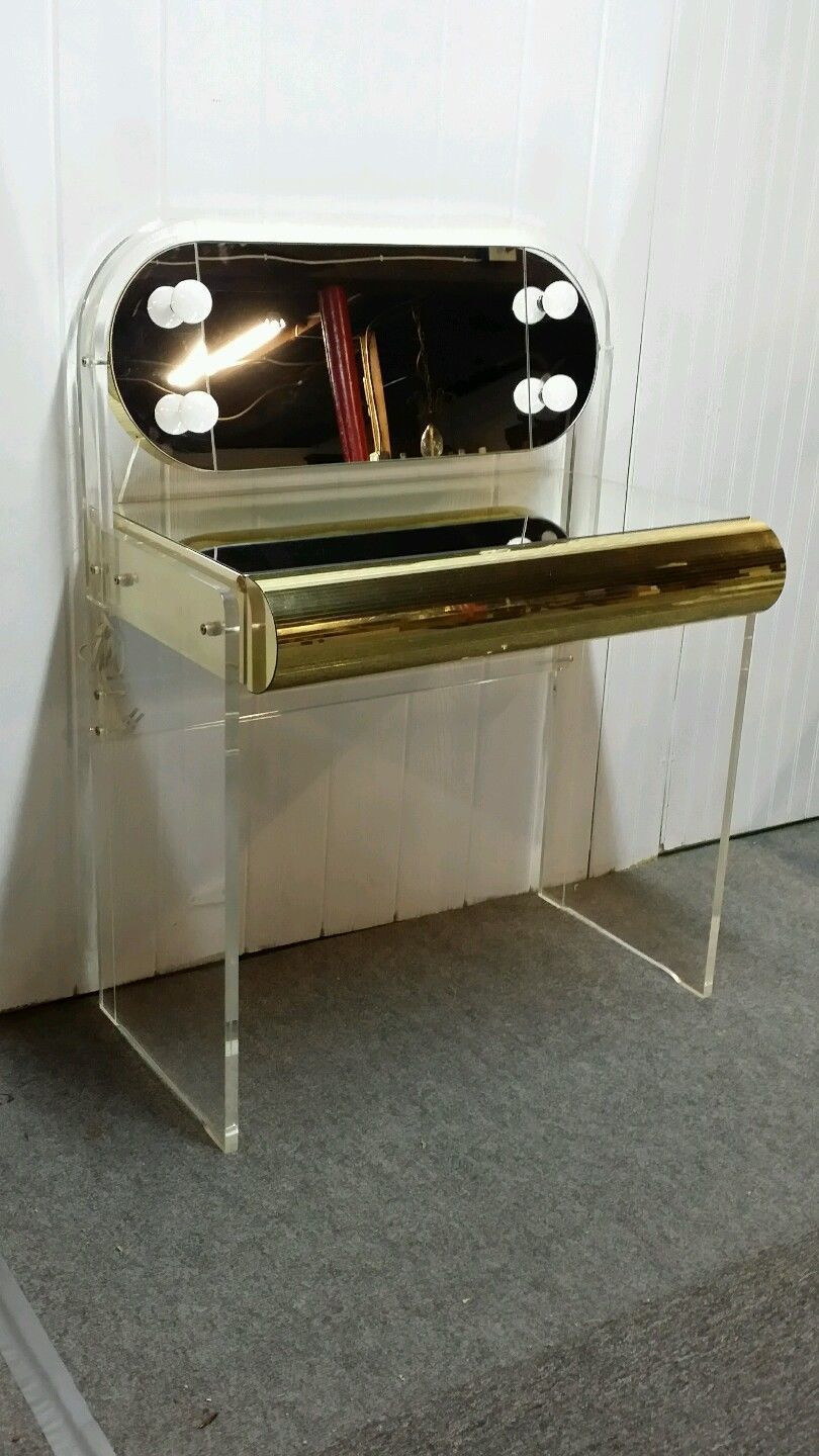 mid century modern lighted lucite vanity with matching