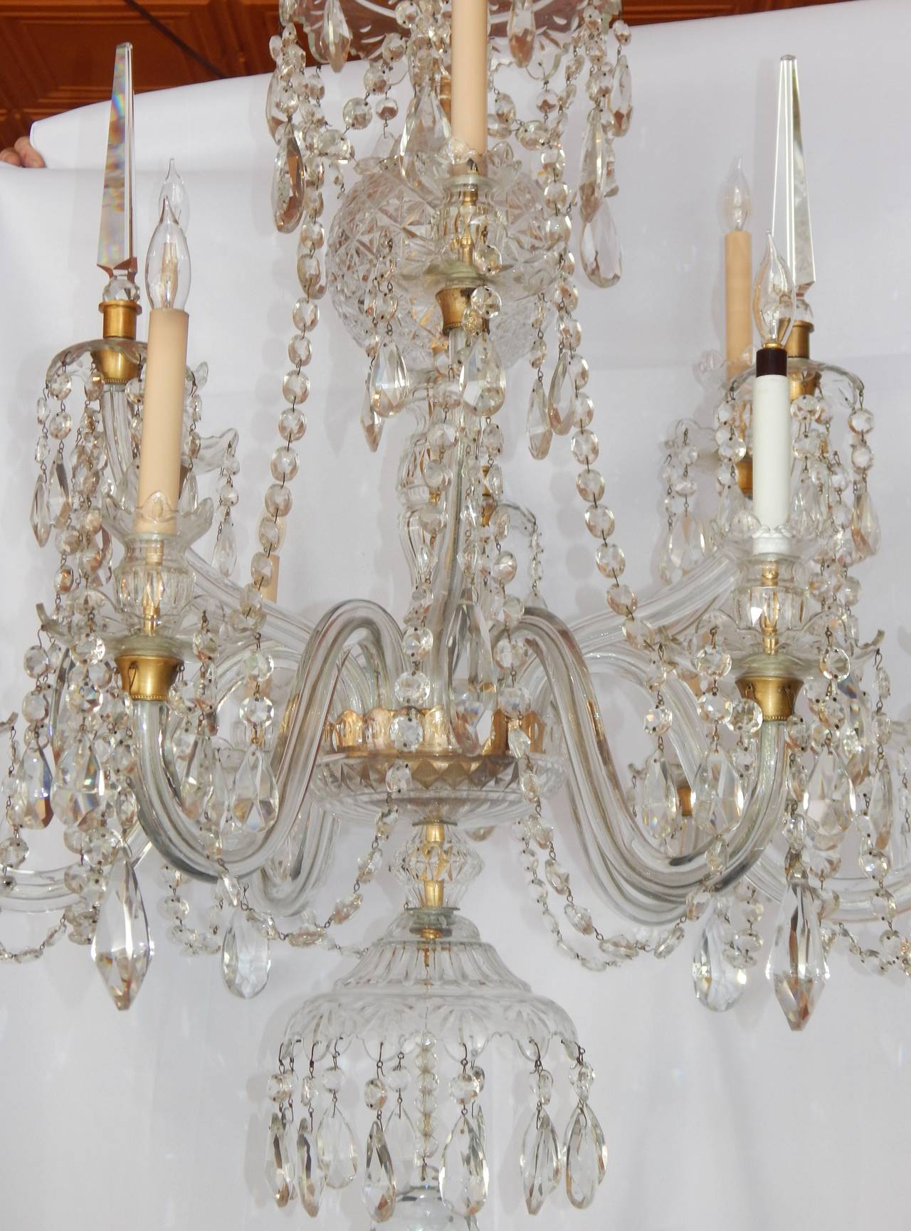 Large crystal nine light chandelier attributed to waterford ca a fine quality large nine light cut crystal chandelier with brass fittings three arubaitofo Choice Image