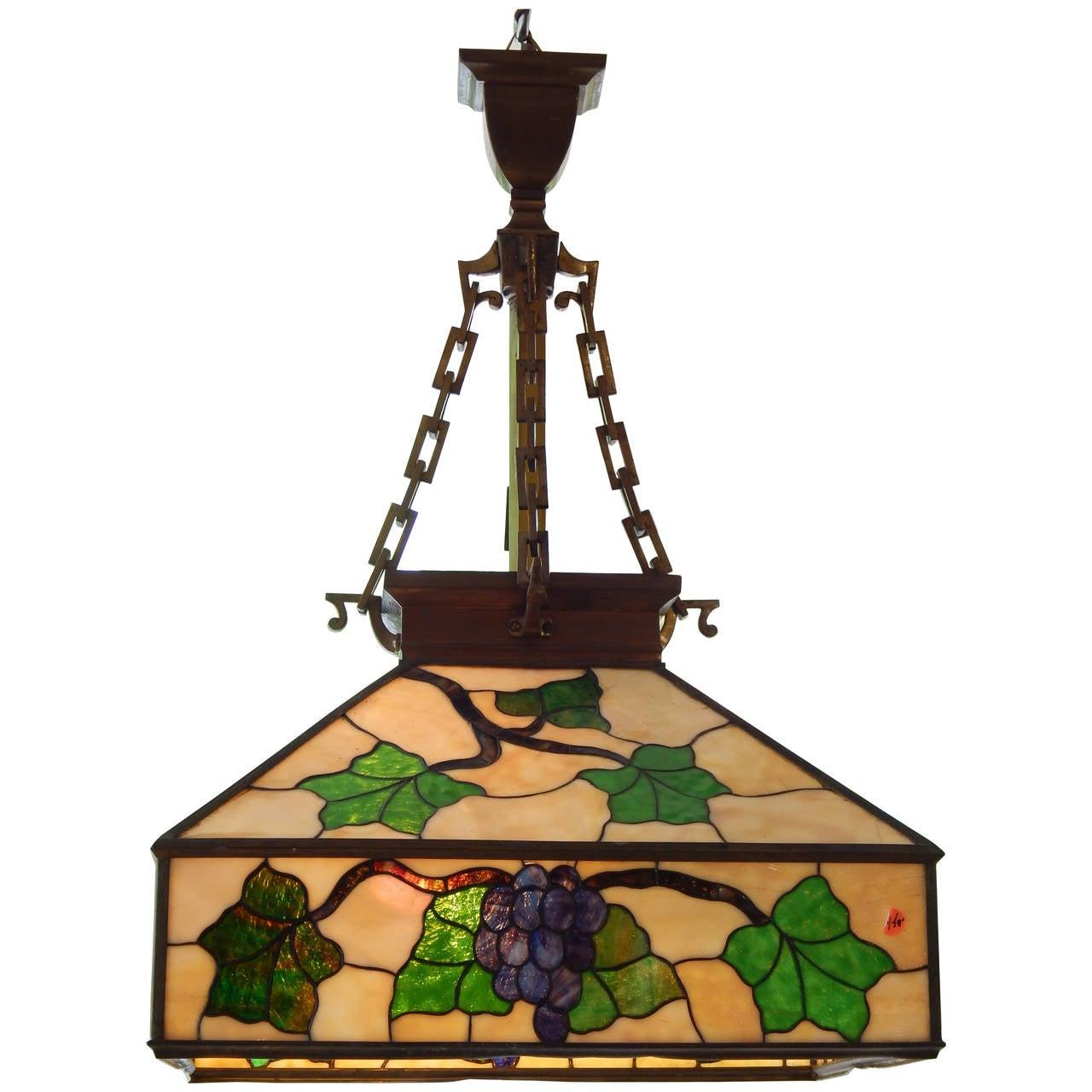 Arts & Crafts Style Leaded Glass Lantern Chandelier 1