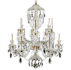 Large crystal Nine Light Chandelier, Attributed to Waterford Ca. 1900
