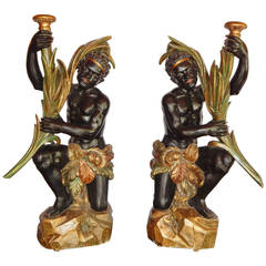 Pair of Antique Venetian Polychrome Blackamoor Figures