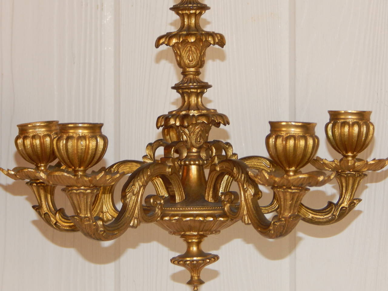 Bronze Wall Sconces For Candles : Pair of Dore Bronze Hanging Candle Sconces at 1stdibs