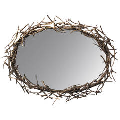 "Original Bronze ""Twig"" Mirror by Silas Seandel"