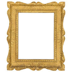 19th Century Italian Shallow Carved and Giltwood Frame