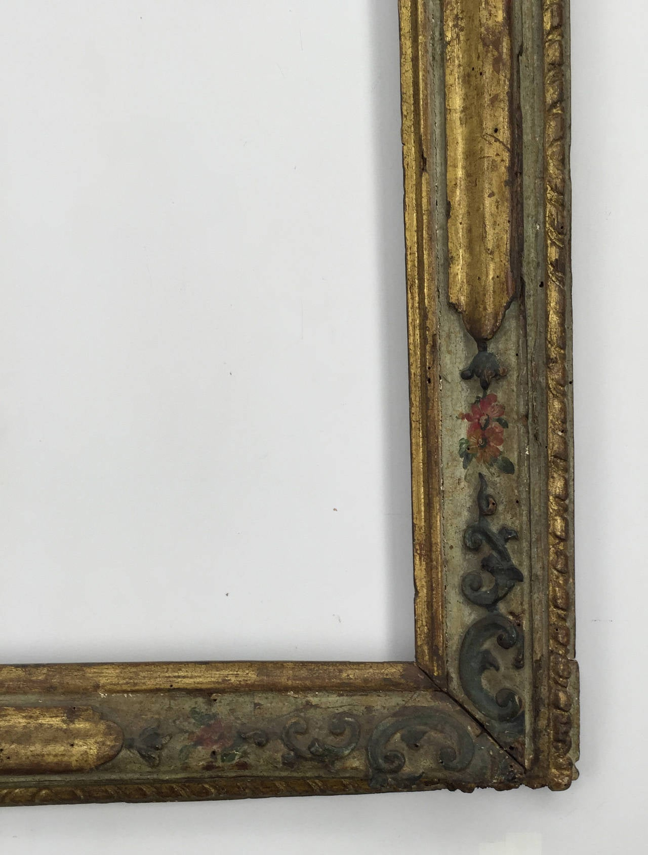 18th Century Venetian Gilt Carved And Polychrome Frame For