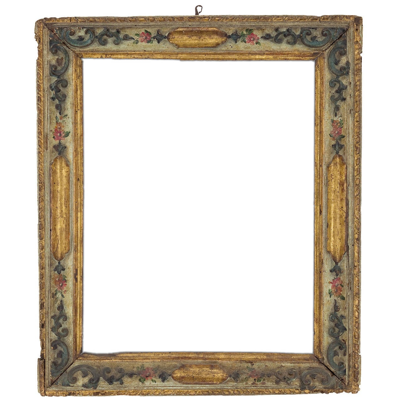 18th Century Venetian Gilt Carved and Polychrome Frame
