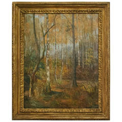 20th Century Oil on Canvas of Trees in Giltwood Frame from Belgium