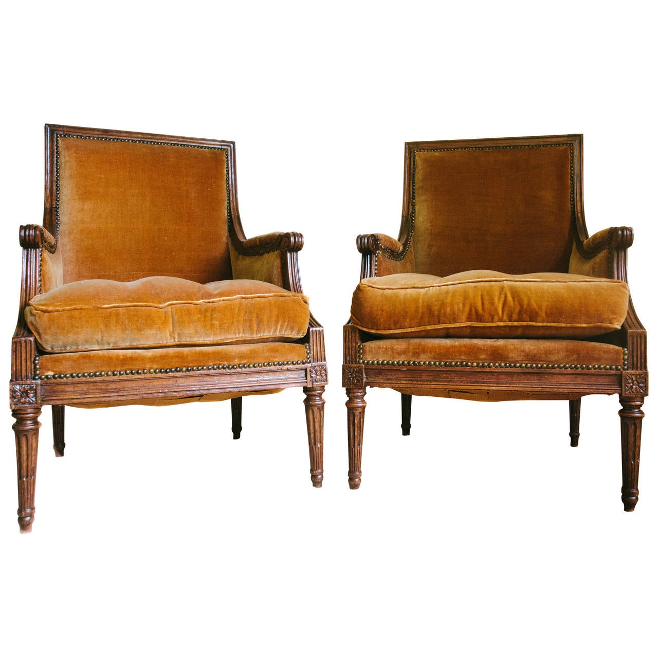 Pair Of Louis XVI Style Walnut Bergere Chairs With Nail Head Trim, Circa  1940 For
