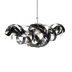 Jacco Maris Montone Oval Six Lights Chandelier in High Gloss Polish Black Finish