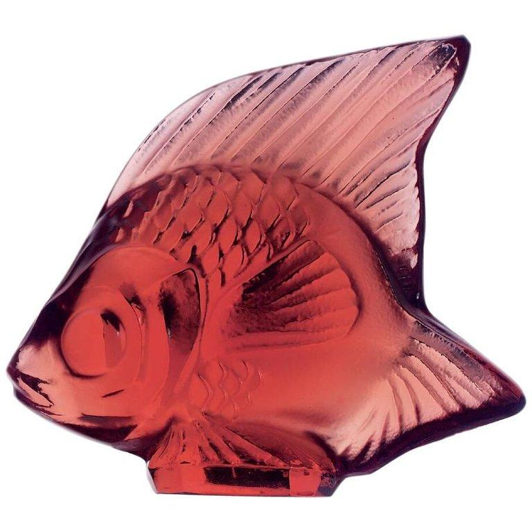 For Sale: Red Fish Sculpture in Crystal Glass by Lalique