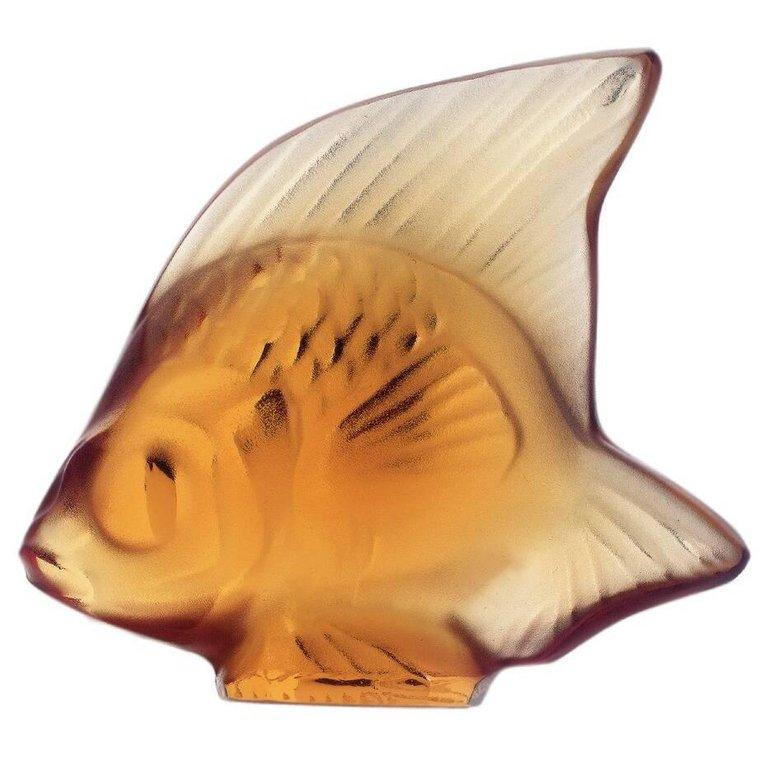 For Sale: Orange (Amber) Fish Sculpture in Crystal Glass by Lalique