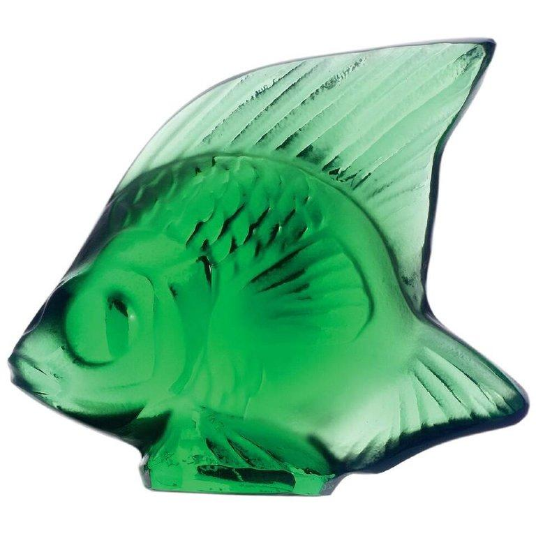 For Sale: Green (Emerald) Fish Sculpture in Crystal Glass by Lalique