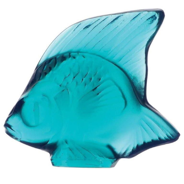 For Sale: Blue (Pale Turquoise) Fish Sculpture in Crystal Glass by Lalique