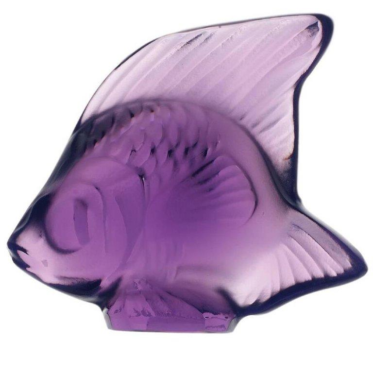 For Sale: Purple Fish Sculpture in Crystal Glass by Lalique