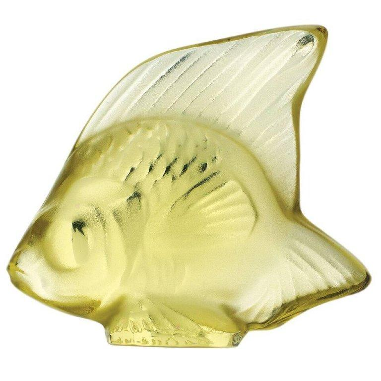 For Sale: Yellow (Yellow Sun) Fish Sculpture in Crystal Glass by Lalique