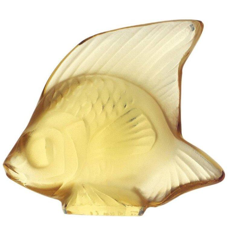 For Sale: Yellow (Yellow Gold) Fish Sculpture in Crystal Glass by Lalique