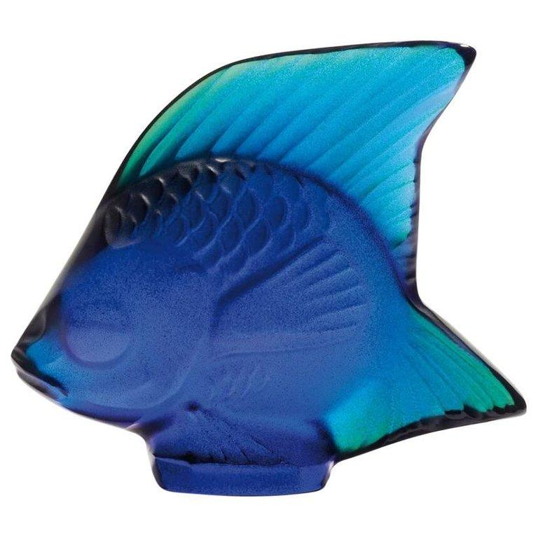 For Sale: Blue (Cap Ferrat Blue Luster) Fish Sculpture in Crystal Glass by Lalique