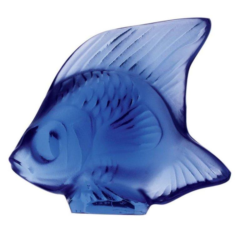 For Sale: Blue (Sapphire Blue) Fish Sculpture in Crystal Glass by Lalique