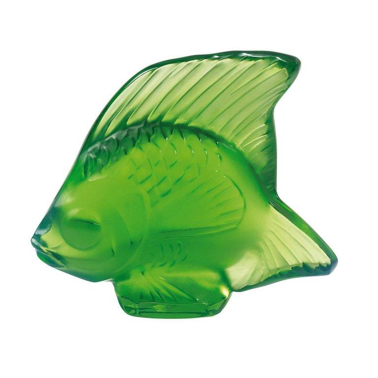 For Sale: Green (Meadow Green) Fish Sculpture in Crystal Glass by Lalique
