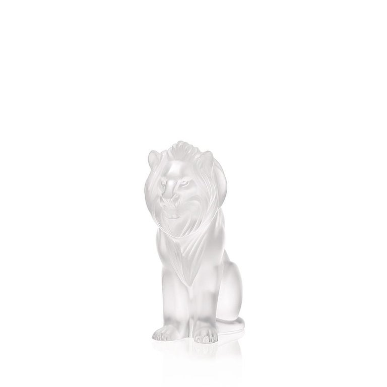 For Sale: Clear Bamara Lion Sculpture in Crystal Glass by Lalique 2