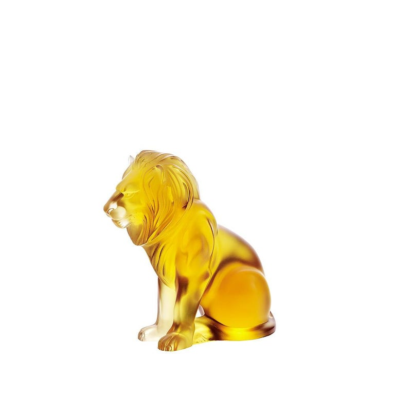 For Sale: Orange (Amber) Bamara Lion Sculpture in Crystal Glass by Lalique