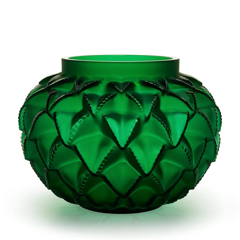 For Sale: Green (Lime Green) Limited Edition Grand Languedoc Vase in Crystal Glass by Lalique