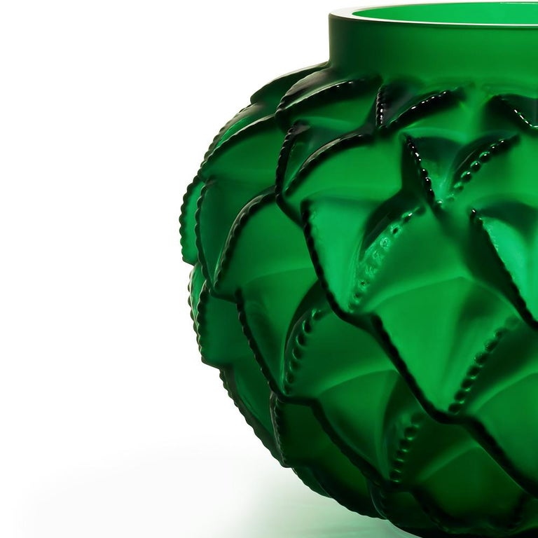 For Sale: Green (Lime Green) Limited Edition Grand Languedoc Vase in Crystal Glass by Lalique 2