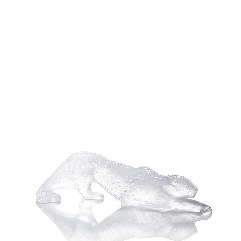 For Sale: Clear Large Zeila Panther Sculpture in Crystal Glass by Lalique 2