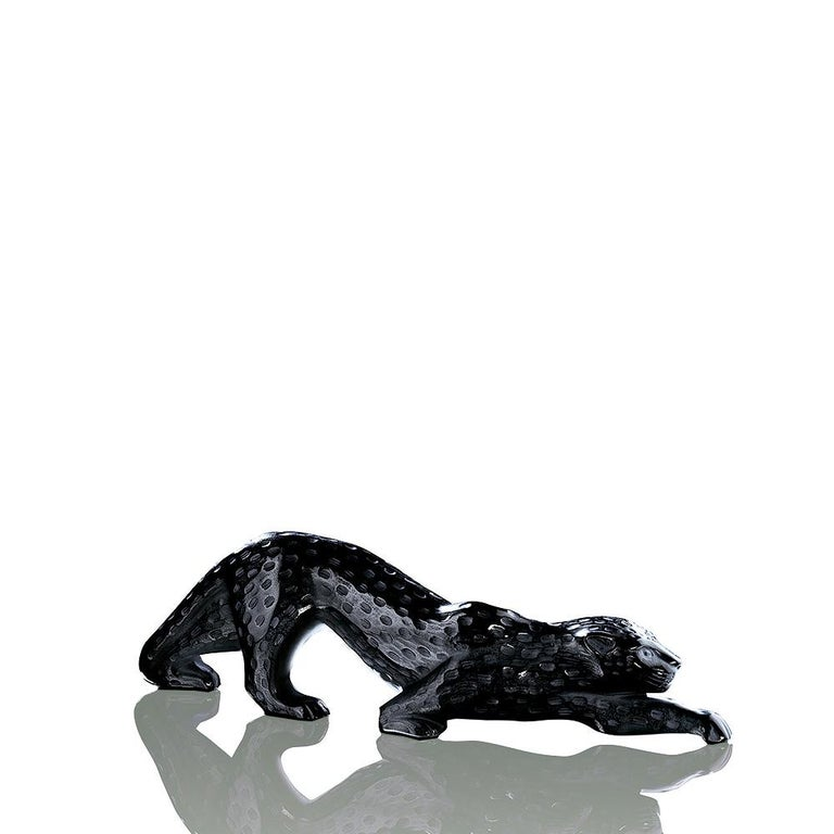 For Sale: Black Large Zeila Panther Sculpture in Crystal Glass by Lalique