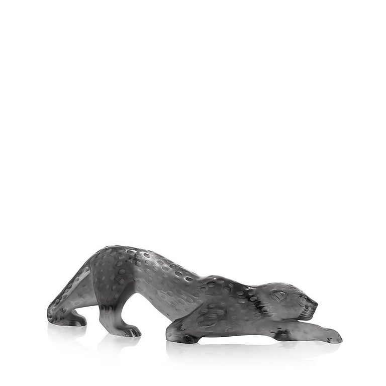 For Sale: Gray (Grey) Large Zeila Panther Sculpture in Crystal Glass by Lalique